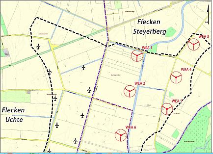 Standorte der WEA 1- 5